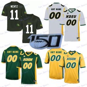 Benutzerdefinierte NDSU Bison 2020 Fußball Alle Nummer Name Gelb, Grün, Weiß North Dakota State 5 Trey Lance 11 Wentz Männer Jugend Kid Jersey