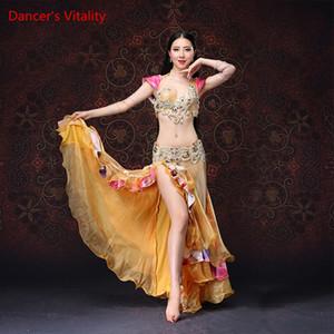Professional New luxo Mulheres Belly Dance Costume Bra Belly Dance Costume Mulheres Stage Desempenho Skirt Set