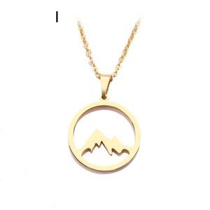 Schmuck Kostspielig Edelstahl-Halskette für Frauen Man Mountain Hill Gold und Silber Farbe Anhänger Halskette Verpflichtungs-Schmucksache-Partei