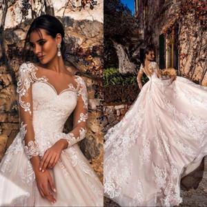 Fard à joues rose élégant mariage robes 2020 Sheer col V à manches longues en dentelle Cour Appliqued train Robes de mariée Robes De Noiva
