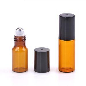 3ml 5ml 앰버 유리 롤 병 여행 에센셜 오일 향수 병 스테인레스 스틸 공