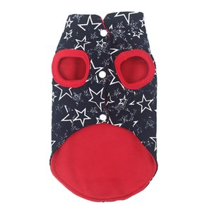 Pet Small Dog Cats Cotton Vest Double-sided Warm Sleeveless Coat Star Printed   Solid Color Dog Winter Costume