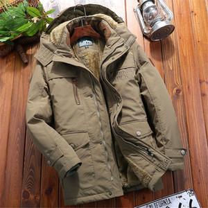 남성 옷 2019 겨울 패션 남성 전술 밀리 재킷 긴 섹션 코트 플러스 벨벳 두꺼운 후드 재킷 5XL