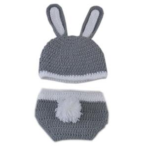 Sevimli Yenidoğan Gri Paskalya Bunny Kıyafet, El Yapımı Örgü Tığ Erkek Bebek Kız Tavşan Bunny Şapka ve Bezi Kapak Seti, Bebek Fotoğraf Prop