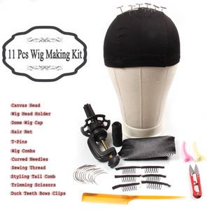 AliLeader 11 Наборов Парик Starter Kit Canvas головка блок с подставкой купольного парика Cap расчески изогнутых Игл T Pins Темой для изготовления париков