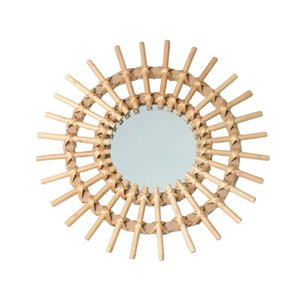 Rotin Innovative Art Décoration Miroir rond Maquillage Dressing Salle de bain Tenture Miroir
