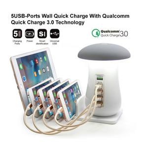 5USB Ports parete Quick Charger Qualcomm Quick Charge staffa 3.0 Mushroom caricatore del telefono mobile multi-porta lampada USB QC3.0 ricarica veloce