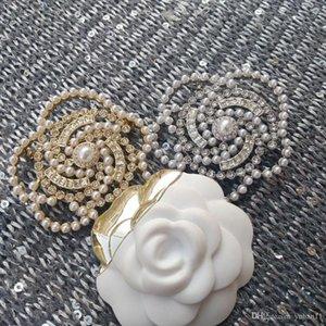 NEW Camellia Fashion brooch C mark fashion symbol breastpin pearl rhinestone decorate fashion accessories