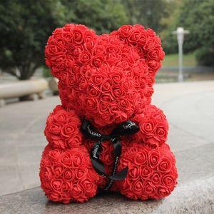Regalo di Natale il giorno di Rose Red Orso 35CM Orsetto artificiali fiori della gomma piuma orso regalo per San Valentino regalo di nozze Roses decorazioni CJ191223
