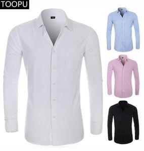 2020 NEW Mens Silk Langarm-Shirt festes Kleid Shirt mit der linken Brusttasche Male Leger Regular-Fit-Spitzen unten Shirts