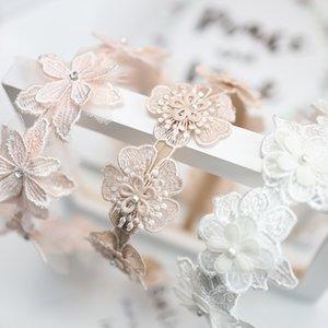 Korean children's hair accessories 2020 New Sweet lace flower Kids Hair Sticks Flower embroider Pearl Girls Headband S094