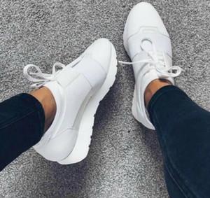 Race Runner - Schwarze Leder-Sneakers aus Stoff von Designer-Qualität Frauen Niedrig geschnittene Schuhe Casual Kanye West Style Atmungsaktive Race Runner-Maschenschuhe