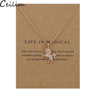 Cadeia New Golden prata cavalo pingente de colar Alloy Colar Pingente Chocker Com Gift Card Atacado Jóias para as mulheres vida é mágica