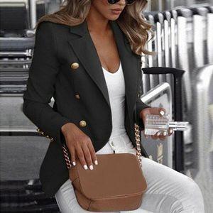 Mujer Varios botón Outwear de manga larga chaqueta de trabajo de las señoras Mujer capa de la chaqueta Outwear Top Traje más del tamaño