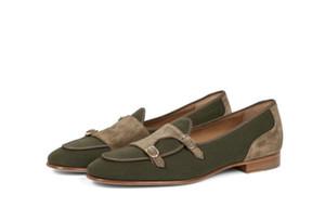 Мужчины Vintage Повседневная обувь Двойной Монах ремень пэчворк Пряжка Мокасины Luxury Wedding Party замша высокого качества платье обувь