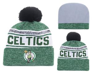 2018 5 Colori Sport Cuffed Boston Knit Berretti Qualità Inverno Cap Skullies celtics da basket degli uomini di Pom ricamo Cuff Stoffe Cappelli