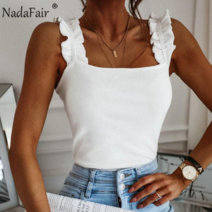 Tank Tops Women Square Collar Solid Knit Casual Basic Summer Ribbed Slim Ruffles Tops Women VestStrap Halter T-Shirt S-XL
