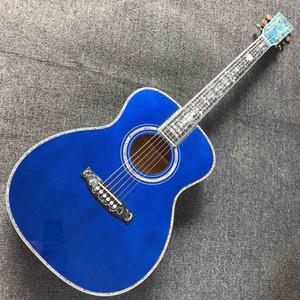 Solid Spruce Top Mahogany Neck Burst Maple Veneer Ebony Fingerboard Abalone Om45s Style Acoustic Guitar