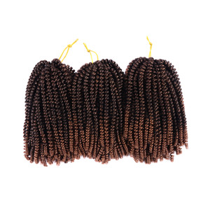 8inch Crochet Braids Spring Twists Kanekalon Synthetic Braiding Hair Extensions Kinky Curly Twist Brown Burg Ombre