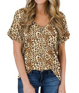 Leopard-Druck-lange T-Shirt Frauen-Splicing-Top-Sommer-Kurzschluss-Hülsen-T-Shirt Kleidung der Frauen 2020 neue Rundhals-T-Shirt der Frauen s S-2XL T-sh