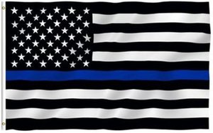 Thin Blue Line Flag 3x5ft USA Nationalflaggen 90 * 150cm Blau Red Line Amerikanische Flagge Parade Banner Flaggen Polyester Party Supplies Flag