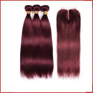 99j Borgonha linear 8A 9A 10A 100% madeixa de cabelo virgem todo o cabelo humano sem sintética ou animal misturado