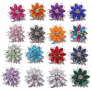 5pcs / lot neue Snap-Schmucksache-Kristall-Blumen-Herz-Verschluss-Knopf für Frauen Fit 18mm 20mm Buttons Schmuck Snaps Halskette