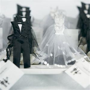 100 adet Organze İpli Şeker Favor Çanta Smokin ve Elbise Gelin Damat Düğün Favor Hediye Çanta Düğün Parti Dekorasyon Için
