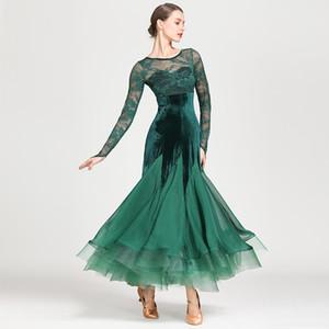 2019 noir robe de bal standard femmes valse dancewear fringe danse usure concours compétition robe rumba costumes robe de flamenco