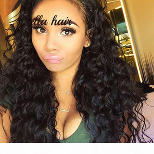 Deep Wave Full Lace Wig 360 Wig Lace Front Wig Brazilian Virgin Hair Wigs Curly 100% Human Bella Hair Factory Outlets
