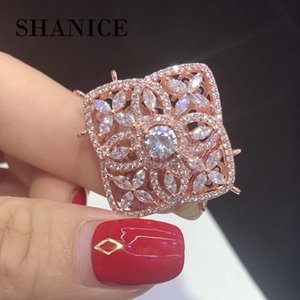 SHANICE New Square CZ Necklace Pendant Connector Locket Micro pavimentato CZ Pearl Nappe DIY Fare gioielli Accessorio Accessori fai da te