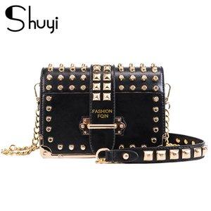 Vintage Rivet bag 2020 Fashion New High Quality PU Leather Women's Designer Handbag Chain Shoulder Messenger bag
