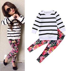 Varejo crianças designer fatos de treino meninas 2 pcs roupas ternos (camiseta listrada + calça floral) Casual sportwear crianças conjuntos de roupas boutique