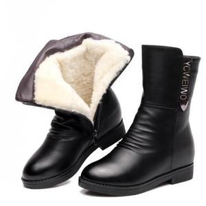Zapatos de cuero de piel de vacuno de lana de una sola piel de alta calidad Botas planas Incrementar dentro de los zapatos de invierno Botas de nieve elegantes Zapatos de moda mujer caballero
