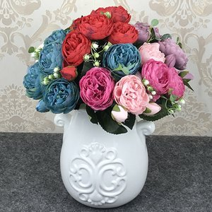 Silk Peony Rose Flowers Bouquet Artificial Peony Flowers With 5 Big Heads 4 Small Buds For Home Bride Wedding Decoration Fake Flowers