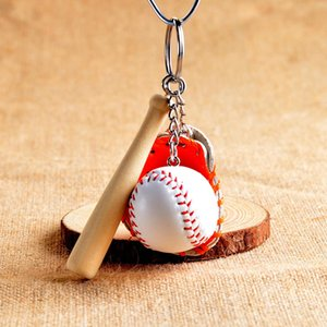 100Pcs Mini Three-piece Baseball glove wooden bat keychain 4 colors sports Car Key Chain Key Ring Gift For Man Women Christmas present