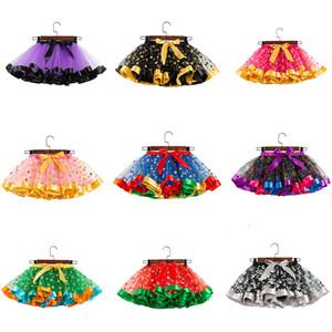 Dot ragazze Tutu bambini piegano Halloween gonna stampata di mezza lunghezza della maglia del vestito dalla gonna bambini bambino Skorts di Natale di Halloween Outfits M575