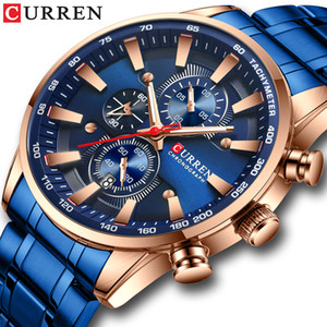 New Chronograph Quartz Men's Watch CURREN Stainless Steel Date Wristwatch Clock Male Luminous Watches Relogio Masculino