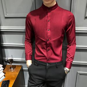 Мужская Стенд воротник с длинными рукавами Полосатый Solid Pattern Стенд Воротник однобортный обтягивающей Рубашка Tide