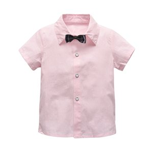 Children Shirts Casual Solid Cotton Short-sleeved Boys Shirts for 2-7 Years Party Wedding Shirt with Tie for Kid Boy Summer M200446