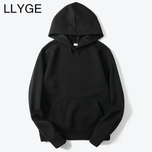 LLYGE 2018 Novos Homens Casuais Hoodies Streetwear Hip Hop Básico Sólido Masculino Com Capuz Moletons Com Capuz Outono Hoodies Dos Homens Dropshipping