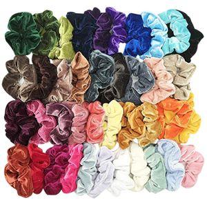 40 Adet Kızlar Saç Halka Kadın Elastik Saç Scrunchies Halat Katı Scrunchies Bant Kadın Kadife At Kuyruğu Tutucu Aksesuarları @ 20