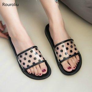 Rouroliu 2020 Summer Chaussons Accueil Chaussures femmes Transparent flip à pois Flops Lumière douce Diapositives extérieure