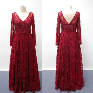2019 New Real Images Burgundy V Neck Long Sleeves Mother of Bridal Gowns Lace Appliques Beaded Prom Evening Dresses vestidos de fiesta