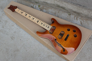 Factory Custom Red Brown Electric Guitar Kit(Parts) with Maple Fretboard,Neck and Body,Semi-finished Guitar,Black Bird Inlay