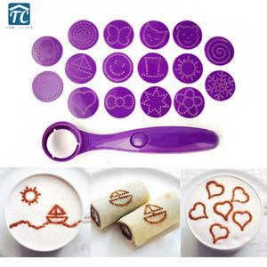 Padrão Ferramentas Spice colher decoração do bolo Café Leite Chá Spoons Kit Flor Latte Art Stencils Decoração Cappuccino DIY Modelo