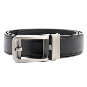 New Leather Two-layer Automatic Belts Business Youth Belt Design Click Belt for Men High Quality Silver