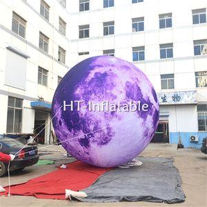 Frete Grátis 3 m Espetacular Inflável Gigante Roxo / Azul Lua Bola, Inflável Playground Balões LED Lua Para A Decoração