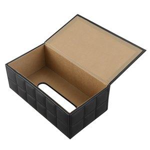 Durable Home Car Rectangle PU Leather Tissue Box Paper Holder Case Cover Napkin black Kitchen Storage Organization