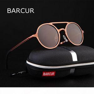 BARCUR Retro Aluminum Sunglasses Polarized Vintage Eyewear Accessories Women Sun Glasses Driving Men Round Sunglasses